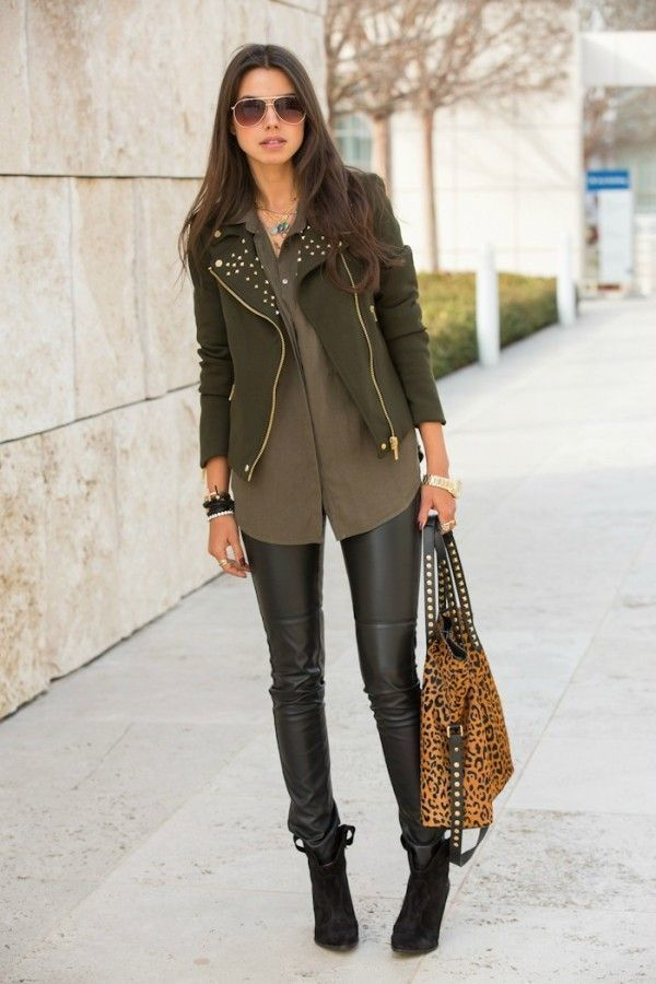 Wearing black leather jacket with brown boots