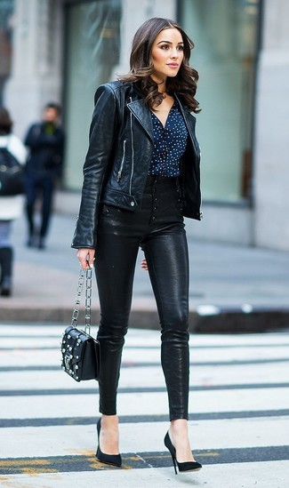 How to wear: black leather biker jacket, navy and white polka dot button down blouse, black leather skinny pants, black suede pumps