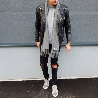 How to wear: black leather biker jacket, grey cable sweater, black ripped jeans, grey suede low top sneakers