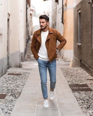 Cable Sweater Outfits For Men: For a look that's pared-down but can be worn in many different ways, choose a cable sweater and blue jeans. Complete this getup with white canvas low top sneakers and you're all done and looking smashing.