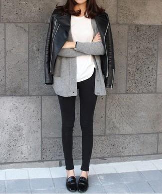 How to wear: black leather biker jacket, grey cardigan, white crew-neck t-shirt, black skinny jeans
