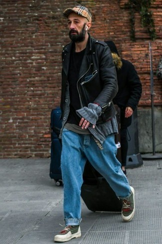 Dark Green Canvas High Top Sneakers Outfits For Men: A black leather biker jacket and blue jeans have become must-have closet items for most gents. A pair of dark green canvas high top sneakers easily dials up the fashion factor of this outfit.