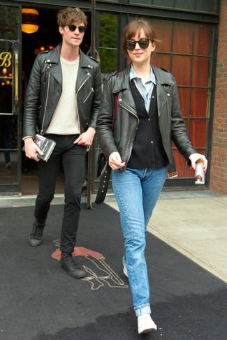 How to wear: black leather biker jacket, black cardigan, light blue denim shirt, light blue jeans