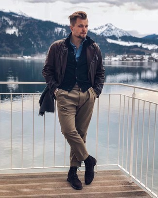 Light Blue Long Sleeve Shirt Outfits For Men: Extra dapper and comfortable, this off-duty combo of a light blue long sleeve shirt and brown chinos will provide you with variety. Introduce a pair of dark brown suede casual boots to the equation to instantly change up the look.