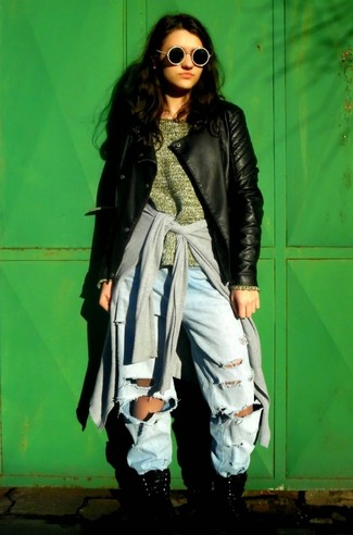 How to wear: black quilted leather biker jacket, grey cardigan, olive oversized sweater, light blue ripped boyfriend jeans