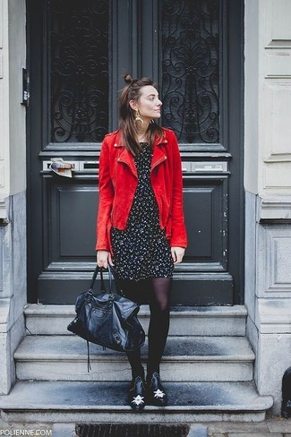 How to wear: red suede biker jacket, black and white floral casual dress, black studded leather chelsea boots, black leather duffle bag