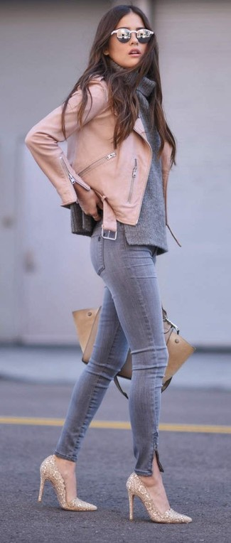 How to wear: pink leather biker jacket, grey cowl-neck sweater, grey skinny jeans, gold sequin pumps