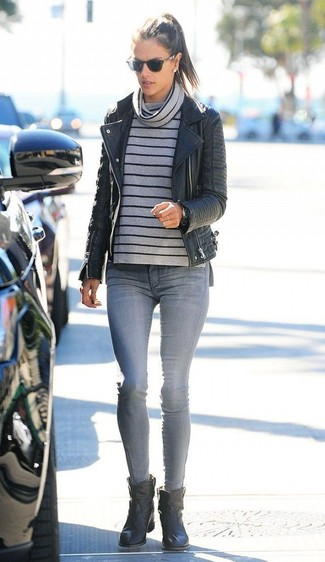 How to wear: black leather biker jacket, grey horizontal striped cowl-neck sweater, grey skinny jeans, black leather ankle boots