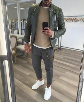 Men's Olive Leather Biker Jacket, Tan Crew-neck Sweater, White Crew-neck T-shirt, Grey Chinos