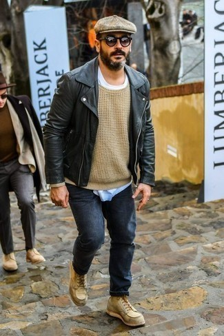 Beige Crew-neck Sweater Outfits For Men: Uber stylish, this laid-back combination of a beige crew-neck sweater and navy jeans provides with wonderful styling opportunities. A cool pair of tan suede casual boots is a simple way to inject an added touch of style into your ensemble.