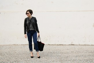 How to wear: black leather biker jacket, black and white horizontal striped crew-neck sweater, navy jeans, black suede pumps