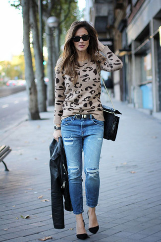 How to wear: black leather biker jacket, beige leopard crew-neck sweater, blue ripped jeans, black suede pumps