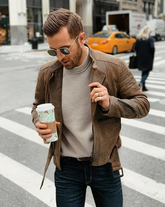 How to wear: brown leather biker jacket, grey crew-neck sweater, navy jeans, dark brown leather belt