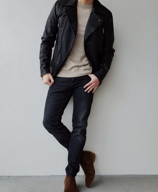 Black Leather Jacket with Black Jeans Outfits For Men In Their 30s: This combo of a black leather jacket and black jeans is extra stylish and provides a cool and casual look. Up the style ante of your ensemble by slipping into dark brown suede chelsea boots. A wonderful example for those on a mission to shift their look towards maturity.