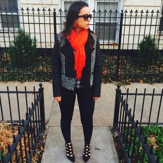 How to wear: grey biker jacket, grey houndstooth crew-neck sweater, black leggings, black suede pumps