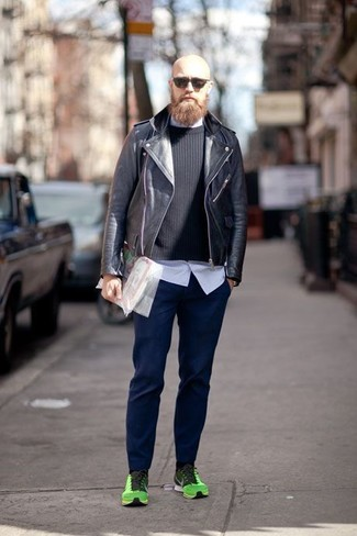 4b2043903f89 ... Men s Black Leather Biker Jacket