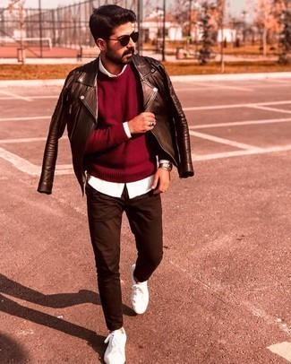 Watch Outfits For Men: To pull together a casual ensemble with a twist, try teaming a dark brown quilted leather biker jacket with a watch. Feeling bold today? Jazz up your look by slipping into white canvas low top sneakers.