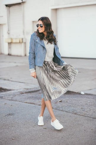 How to wear: blue leather biker jacket, grey crew-neck sweater, silver pleated midi skirt, white low top sneakers