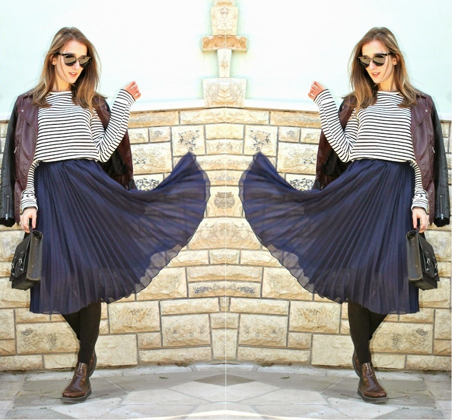 How to Wear a Navy Pleated Midi Skirt (12 looks) | Women's Fashion