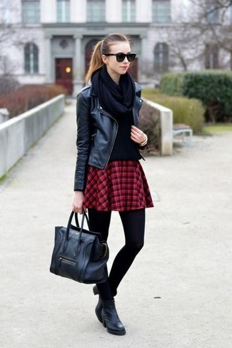 Women's Black Leather Biker Jacket, Black Crew-neck Sweater, Red Plaid Skater Skirt, Black Leather Ankle Boots
