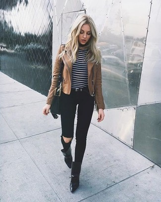How to wear: brown leather biker jacket, black and white horizontal striped crew-neck sweater, black ripped skinny jeans, black leather ankle boots