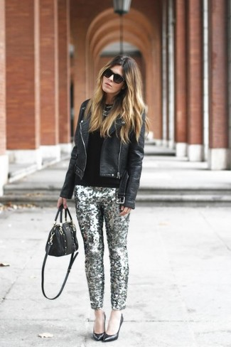 Silver Sequin Skinny Pants Outfits: A black leather biker jacket and silver sequin skinny pants? It's easily a wearable look that anyone could wear on a daily basis. If you want to feel a bit fancier now, add black leather pumps to the equation.