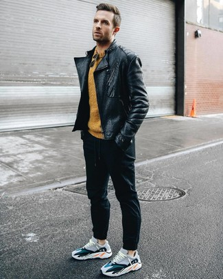 Men's Black Leather Biker Jacket, Mustard Crew-neck Sweater, Black Sweatpants, Multi colored Athletic Shoes