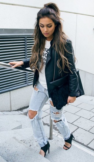 How to wear: black leather biker jacket, white and black print crew-neck t-shirt, light blue ripped boyfriend jeans, black leather heeled sandals