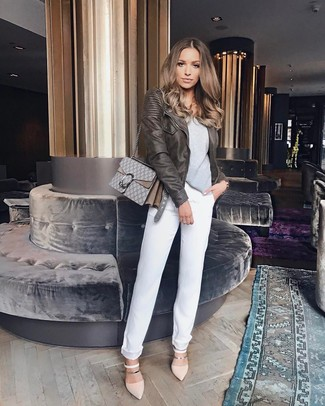 White Boyfriend Jeans Outfits: This combination of a dark brown leather biker jacket and white boyfriend jeans is the perfect base for a ton of casual combos. A pair of beige leather pumps will bring an elegant twist to this look.