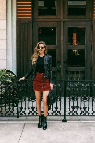 A black leather moto jacket and a button skirt are great staples that will integrate perfectly within your current looks. Polish off the ensemble with black leather booties. An ensemble like this makes it easy to embrace weird transeasonal weather.
