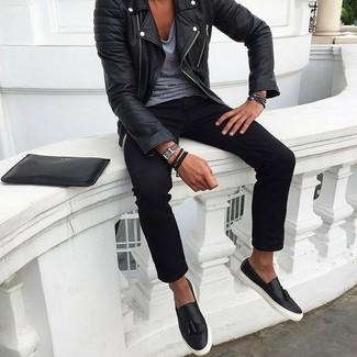 Jasper Leather Slim Fit Biker Jacket