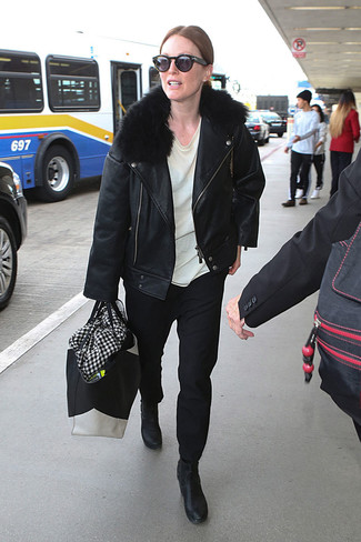 How to wear: black leather biker jacket, white crew-neck t-shirt, black chinos, black leather ankle boots