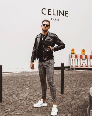 How to Wear Grey Plaid Chinos: This casual combination of a black leather biker jacket and grey plaid chinos is a real life saver when you need to look cool and casual in a flash. All you need is a pair of white and black leather low top sneakers.