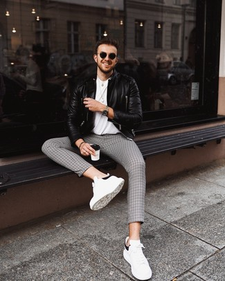 How to wear: black leather biker jacket, white crew-neck t-shirt, black and white houndstooth chinos, white and black leather low top sneakers