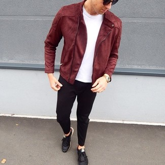 How to wear: burgundy suede biker jacket, white crew-neck t-shirt, black chinos, black leather low top sneakers