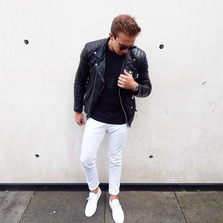 How to wear: black leather biker jacket, black crew-neck t-shirt, white chinos, white low top sneakers