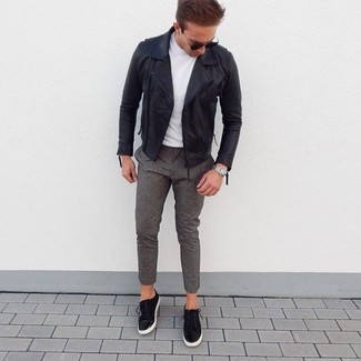 How to wear: black leather biker jacket, white crew-neck t-shirt, grey wool chinos, black suede low top sneakers