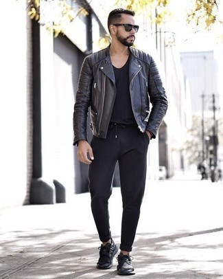 How to Wear a Black Watch For Men: This casual combination of a black leather biker jacket and a black watch is very easy to pull together in next to no time, helping you look awesome and prepared for anything without spending too much time searching through your wardrobe. And if you need to easily up your look with a pair of shoes, throw black athletic shoes in the mix.