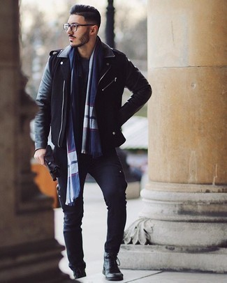 Gloves Outfits For Men: This outfit with a black leather biker jacket and gloves isn't so hard to score and leaves room to more experimentation. Amp up the fashion factor of this look by wearing black leather casual boots.