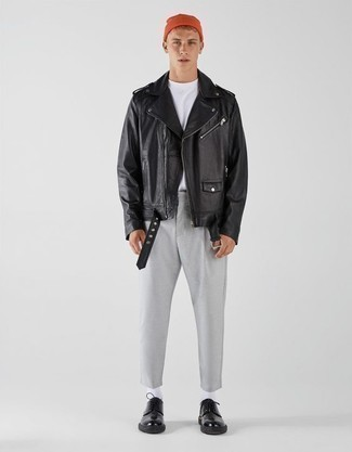 500+ Outfits For Men In Their Teens: Stand out from the crowd in a black leather biker jacket and grey chinos. You know how to lift up this ensemble: black leather derby shoes. Men who wonder how to wear smart dressing as you make your way through your teen years, this pairing should answer your question.