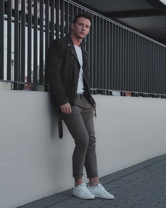 Black Biker Jacket Outfits For Men: This relaxed casual pairing of a black biker jacket and charcoal check chinos is a winning option when you need to look dapper but have no extra time to dress up. When it comes to footwear, introduce a pair of white leather low top sneakers to the mix.