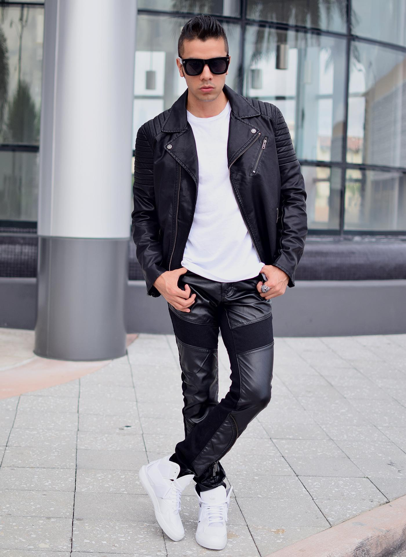 Men's Black Leather Biker Jacket, White Crew-neck T-shirt, Black ...