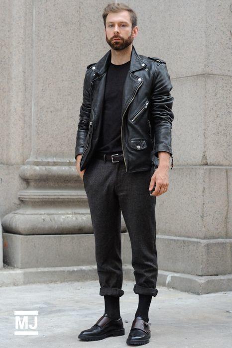 How to Wear a Leather Biker Jacket (159 looks) | Men's Fashion