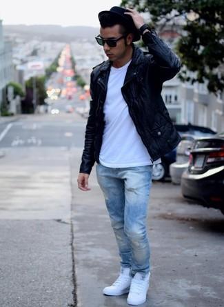 Men S Black Leather Biker Jacket White Men S Fashion