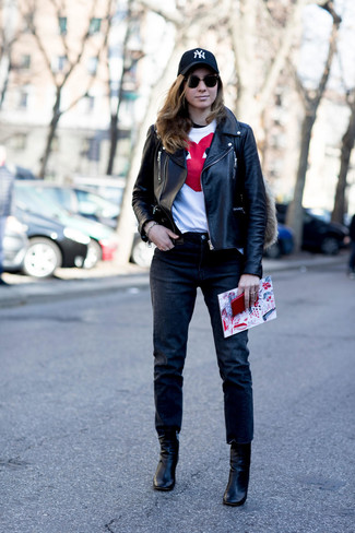 How to wear: black leather biker jacket, white and red print crew-neck t-shirt, black jeans, black leather ankle boots