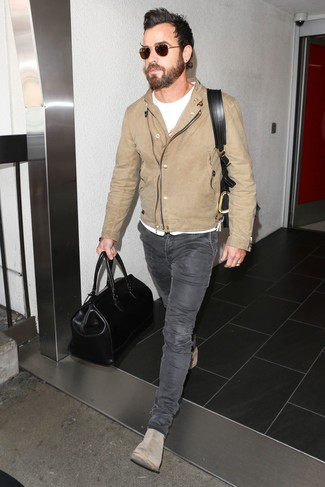 6fb2b98e354e ... Justin Theroux wearing Beige Leather Biker Jacket, White Crew-neck T- shirt,