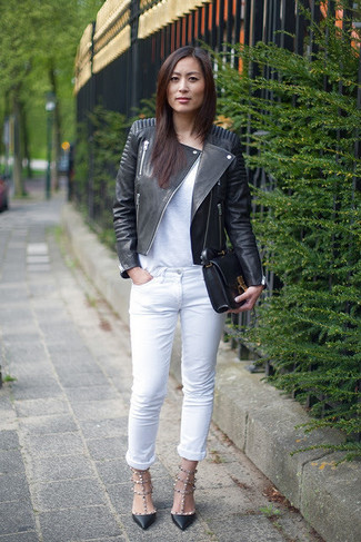 How to wear: black leather biker jacket, white crew-neck t-shirt, white jeans, black leather pumps