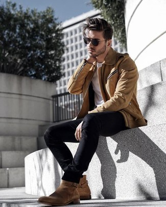 How to Wear Charcoal Sunglasses For Men: Consider teaming a tan suede biker jacket with charcoal sunglasses to assemble an off-duty and absolutely dapper outfit. If you feel like stepping it up, complete this ensemble with a pair of tan suede chelsea boots.