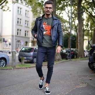 Men's Looks & Outfits: What To Wear In 2020: For a casual and cool outfit, try pairing a black leather biker jacket with navy jeans — these pieces fit beautifully together. As for shoes, complement your look with black and white canvas low top sneakers.