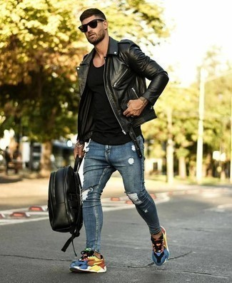 Black Leather Backpack Outfits For Men: A black leather biker jacket and a black leather backpack married together are a perfect match. With shoes, go for something on the classier end of the spectrum and complete your outfit with a pair of multi colored athletic shoes.